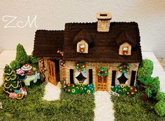 #10 - Happy Home by Zeena Christmas Gingerbread, Gingerbread Cookies, Christmas Holidays, Christmas Tree, Gingerbread Houses, Yellow Flowers, Pink Roses, Cereal Mix, Cookie House