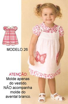 Handmade by Juliana Melo: Ref: 127 - Molde children's dresses Baby Girl Patterns, Kids Patterns, Toddler Girl Dresses, Girls Dresses, Flower Girl Dresses, Kids Wear, Dressmaking, Clothing Patterns, Baby Dress