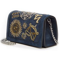 Emilio Pucci Embellished Suede Clutch ($1,050) ❤ liked on Polyvore featuring bags, handbags, clutches, metallic purse, special occasion handbags, blue suede purse, evening purse and metallic handbags