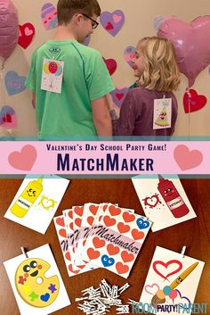 Have your kids go on a hunt for their perfect match! There's a catch though. They have to figure out what they are first! With 16 matches to be made, this is an excellent game for the whole class to play at your school's Valentines Kids Games, Valentines Day Party, Maker Game, Class Games, Party In A Box, School Parties, Matching Games, Perfect Match, Party Games