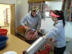 And we begin a process of hundreds of kilograms worth of beef to be turned into sausage.