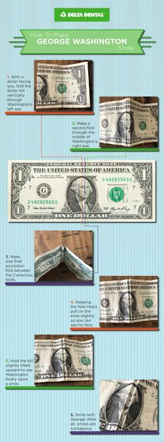 How to Make George Washington Smile on the Dollar George Washington had trouble with his oral health since young adulthood, mostly likely a product of the dental care at the time. How to Make George Washington Smile on the Dollar Human Teeth, Accordion Fold, States In America, Tooth Fairy, Oral Health, George Washington, Dental Care, Body Care, Smile