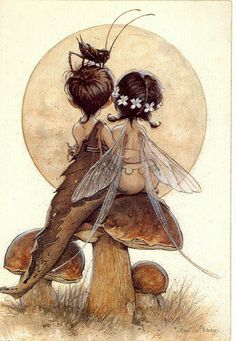 Fairy.  I don't believe that Fairies are all children, so am bothered when artists portray them all as children.  However, this is SO cute that I had to pin it.  :)