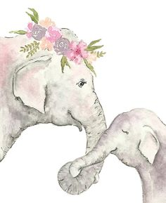 Elephant Mother and Baby Watercolor Stationery Cards by Christie Renfro Art - Set of 3 Folded Cards x Baby Elephant Drawing, Mother And Baby Elephant, Elephant Nursery, Elephant Print, Watercolor Canvas, Watercolor Animals, Watercolor Background, Watercolor Paintings, Simple Watercolor