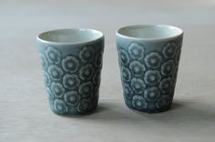 Pair of egg cups Blue Azur Kronjyden by nORDICbYhEART on Etsy