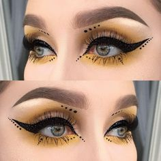 Black glitter liner, yellow and dots ✨ I used eyeshadow neon from the radioactive stack Eyeliner Designs, Eyeliner Styles, Gel Eyeliner, Eyeliner Dots, Makeup Eyebrows, Eyeliner Wing, Face Makeup, Makeup Inspo, Makeup Art