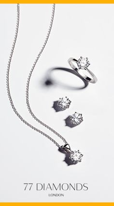 Pictured here is the #Chloe #Necklace and #Earrings with #RoundDiamonds in #Platinum. The #EngagementRing pictured is the #Delicacy with 6 Claws