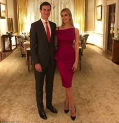 Ivanka Trump posted a picture of herself in a stunning deep pink dress, with her husband Jared, from the White House with the caption: 'Getting ready to leave The White House with @realdonaldtrump as he prepares to address Congress #JointSession'
