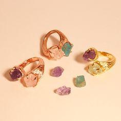 THE DIVINE RING GOLD PLATED RINGS WITH SEMI-PRECIOUS GEMSTONES.  WWW.LOVEBYSIS.COM