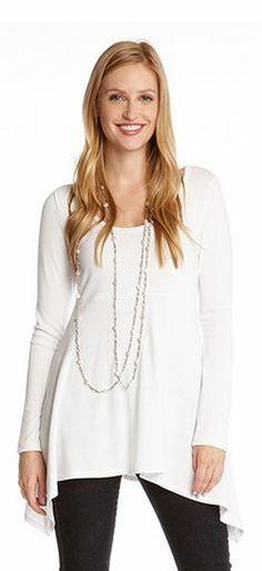 Beautiful White Karen Kane Handkerchief Sweater. Perfect over Leggings.