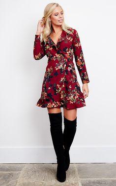 Wine Floral Wrap Frill Mini Dress – SilkFred