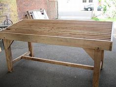 A Huon Pine Wool Classing Table - A major Sale of Colonial Furniture, Related Wares, Fine Art, English Furniture, Decorative Arts etc. Colonial Furniture, Dining Room, Dining Table, Shed Homes, Picnic Table, Art Decor, Home Decor, Repurposed, Pine