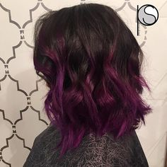 Violet Balayage ombré, short textured bob haircut and styled with my Paul Mitchell ProTools barrel ...