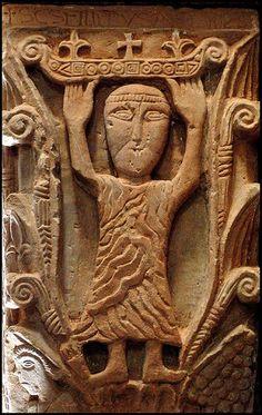 San Felipe Apostol, relieve en un capitel de San Pedro de la Nave (Zamora) Arte Visigodo. https://c2.staticflickr.com/2/1432/1298450536_41623941c8.jpg