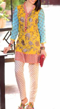 Buy Yellow/Sky Blue Embroidered Cotton Lawn Dress (2pc) by Charizma 2016 Contact: (702) 751-3523 Email: info@pakrobe.com Skype: PakRobe
