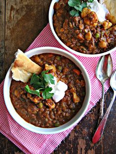 Lentil & Chickpea Curry with Coconut Milk. #vegetarian #vegan