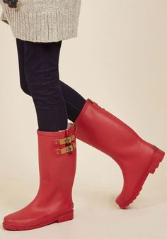 Puddle Jumper Rain Boot in Cherry. Be ready for whatever the weather brings your way with these matte red rain boots! #red #modcloth