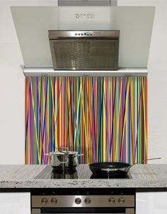 Picture of Colour stripes Splashback Ugly Kitchen, Kitchen On A Budget, Kitchen Ideas, Kitchen Design, Printed Glass Splashbacks, Kitchen Pictures, Fused Glass, Stained Glass, Classic Collection