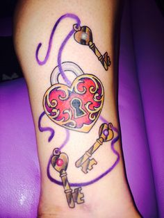 My new ink!  3 keys to my heart. Heart locket and keys birthstones in keys for my kids. Thank you Johnny McCarty!!