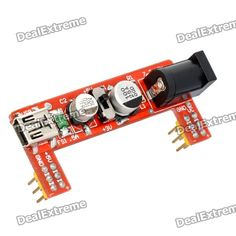 Power 3.3V / 5V Supply Module for MB102 Bread Board. Color: Red - Input voltage: 6.5~12V or USB - Output voltage: 3.3V / 5V - Output current: 700mA (max.) - 0V / 3.3V / 5V switchable - Suitable for MB102 bread board. Tags: #Electrical #Tools #Arduino #SCM #Supplies #Power
