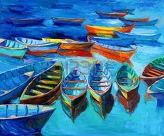Peinture l huile originale de bateaux et de mer sur canvas Sunset plus ocean Modern impressionnisme Banque d'images