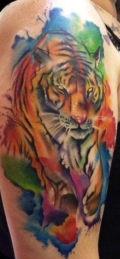 Tiger watercolour tattoo