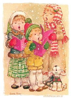 Christmas carolers [and one howler] -- a Sarah Kay illustration. by Vivien Kubbos, Australian Sarah Key, Holly Hobbie, Christmas Scenes, 1st Christmas, Christmas Carol, Xmas, Clipart, Vintage Christmas Images, Hobby Horse