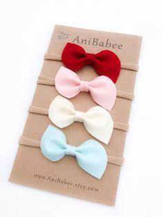 Felt Bow Headband Set. Bows are pictured in the MIA style. **Listing is for 4 Headbands** Please remember to select the appropriate size! The sizes below are meant to be used as a guideline, all sizes are customizable. Feel free to contact me with any measurement questions. Newborn 13 0-3