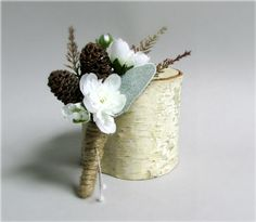 """""""Frost"""" Boutonnieres - Miniature Pine Cones accented with White Silk Cherry Blossoms, Ferns and Dusty Miller, groom, groomsmen, ushers, dad, winter wedding, spring wedding, #PosiesPearls"""