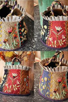 Trendy Ideas For Crazy Patchwork Bag Stitches – Bags Patchwork Bags, Quilted Bag, Penny Rugs, Fabric Bags, Fabric Basket, Ribbon Embroidery, Embroidery Ideas, Embroidery Stitches, Handmade Bags