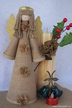 Christmas Angels, Christmas Art, All Things Christmas, Xmas, Twine Crafts, Easy Crafts, Holiday Ornaments, Christmas Decorations, Christmas Crafts To Make And Sell