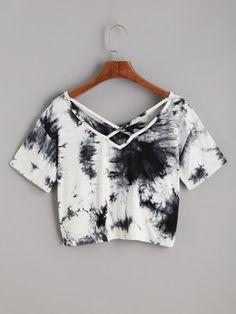 Tie Dye Criss Cross Back Crop T-shirt -SheIn(Sheinside)