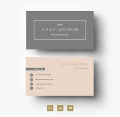 Modern Business Card Template By Emilys ART Boutique On - 2 sided business card template