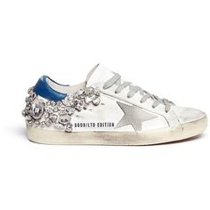 Golden Goose 'Super Star' crystal heel worn effect leather sneakers ($1,585) ❤ liked on Polyvore featuring shoes, sneakers, white, white sneakers, real leather shoes, distressed leather shoes, golden goose shoes and distressed shoes