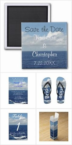 Personalize these beautiful Ocean Waves Destination Wedding Invitation Sets. Wedding Invitations, RSVP, Reception, Address Labels, Thank You Cards, custom Postage Stamps, Table Number Cards, Desserts, Wine Boxes, Throw Pillows, Messenger Bags, Bride Groom Flip Flops and more!  Original Photography & Graphic Designs ©  TamiraZDesigns via: www.zazzle.com/tamirazdesigns*