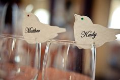 Love bird place cards... so cute!