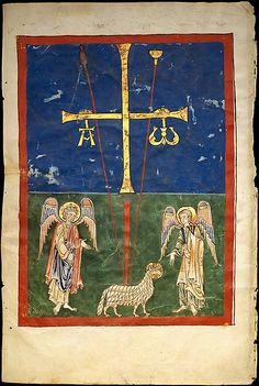 The Lamb at the Foot of the Cross,  Date: ca. 1180 Culture: Spanish Medium: Tempera, gold, and ink on parchment Dimensions: Overall (folio): 17 1/2 x 11 13/16in. (44.4 x 30cm) Classification: Manuscripts and Illuminations Credit Line: Purchase, The Cloisters Collection, Rogers and Harris Brisbane Dick Funds, and Joseph Pulitzer Bequest, 1991  http://www.metmuseum.org/exhibitions/view?exhibitionId=%7bAF24F6FB-AB09-4D06-BB45-ACDFB4265874%7d&oid=466190&pg=1&rpp=30&pos=10&ft=*