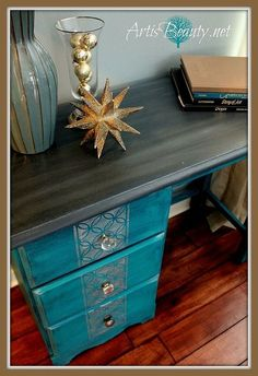 peacock blue silver vintage glamour desk makeover myfavoritethings, painted furniture, you can see I custom painted the top using cece Caldwells slate and some other colors to give it a faux wood look