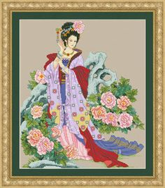 Oriental Rhapsody - cross-stitch pattern, stitch count 218W x 261H :: This is gorgeous, the colors and the design, maybe with a slightly different colored fabric...?