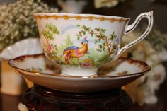 Gorgeous Royal Albert Chelsea Bird cup and saucer set,for rent  from southernvintagegeorgia.com