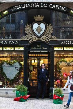 Portuguese and internacional jewelery at Joalharia do Carmo, Rua do Carmo… Visit Portugal, Portugal Travel, Portugal Trip, Portuguese Culture, Shop Fronts, Azores, Most Beautiful Cities, Restaurants, Facade