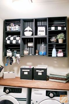 wash room organizer, open shelves, open cabinets, apple crates, box crate,