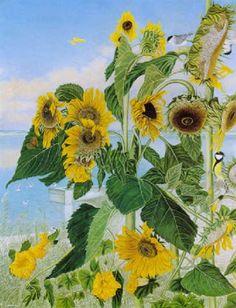 Sonnenblumen vor Seelandschaft by Adolf Dietrich Sunflower Art, Post Impressionism, Naive, New Art, Sunflowers, Artist, Plants, Gardens, Houses