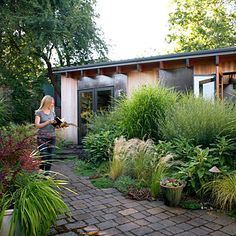 Zebra grass, willow, Irish moss, sedum, and Jerusalem sage bring movement and a variety of textures. All need only occasional pruning.