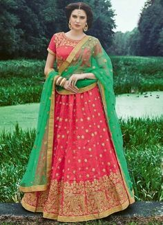 Pink Green Embroidery Work Banarasi Silk Net Designer Fancy Wedding Lehenga Choli http://www.angelnx.com/Lehenga-Choli/Wedding-Lehenga-Choli