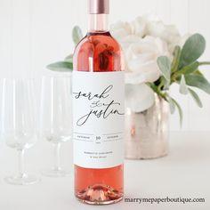 Wedding Wine Labels, Wedding Wine Bottles, Wine Bottle Labels, Printable Labels, Free Printable, Label Templates, Printable Wedding Invitations, Marry Me, Elegant Wedding
