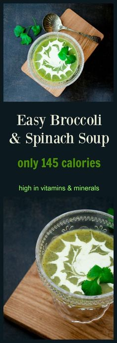 An easy broccoli and spinach soup. High in vitamins and nutrients but cheap to make. Only 145 calories and 38p per serving. Great for the 5:2 diet or Fast Diet.