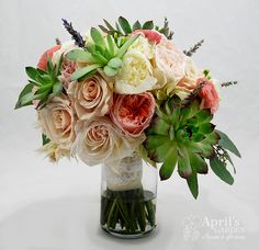 another look at that yummy bridal bouquet in peaches, creams and pinks Flowers by April's Garden in Durango,CO http://www.durangoflorist.com/