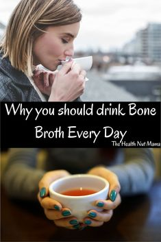 Find out why you should be drinking bone broth everyday. This immune boosting, gut healing Bone Broth has so many health benefits you'll wonder why you haven't been drinking it or making soups & stews out of it already. So delicious & healthy! #bonebroth #healthbenefits #naturalremedies #guthealthy #leakygut #antiaging #botoxalternative #jointhealth #skin #hair #thehealthnutmama