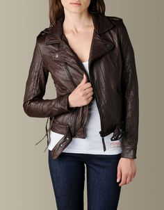 Womens Lace Up Biker Leather Jacket - (Brown) | True Religion Brand Jeans